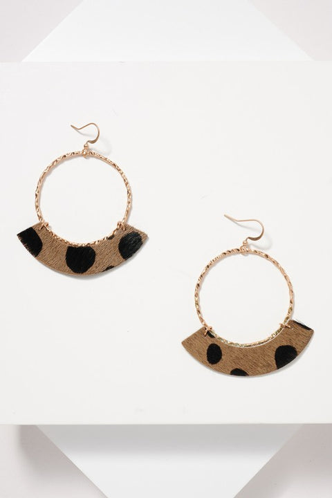 Animal Print Calf Hair Round Earrings