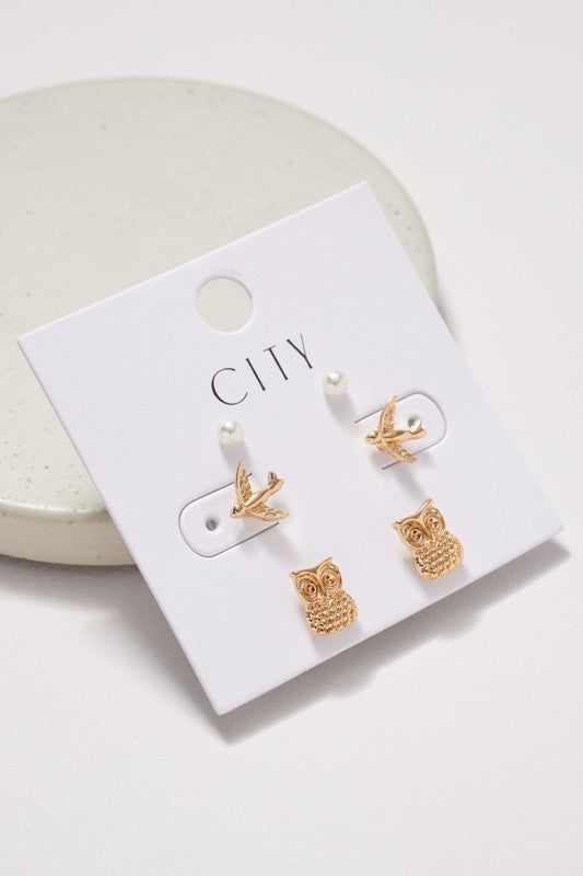 Owl Birds Pearl Stud Earrings Set