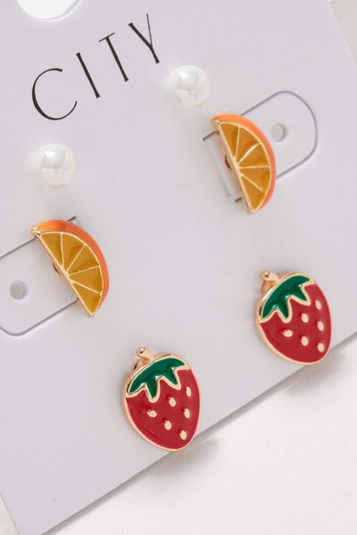 Strawberry Orange Pearl Stud Earrings Set