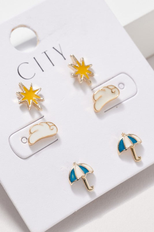 Northern Star Umbrella Cloud Stud Earrings Set