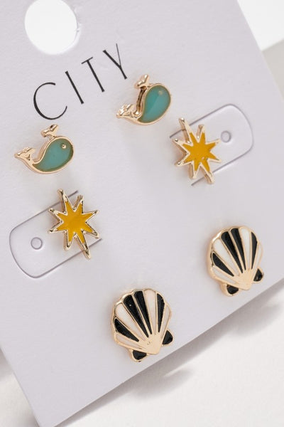 Whale Northern Star Shell Stud Earrings Set