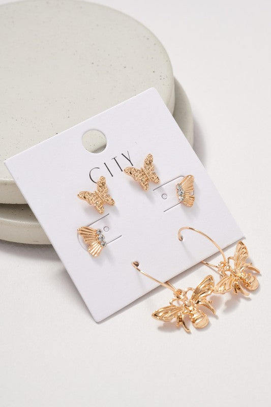 Butterflies Studs Hoop Earrings Set