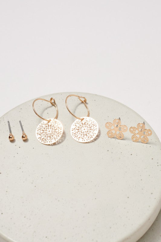 Flower Round Filigree Earrings Set