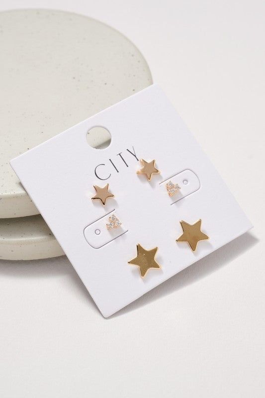 Stars Rhinestones Stud Earrings Set