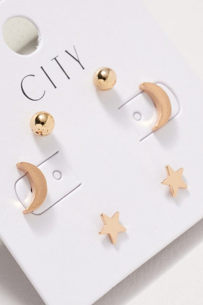 Star Moon Stud Earrings Set