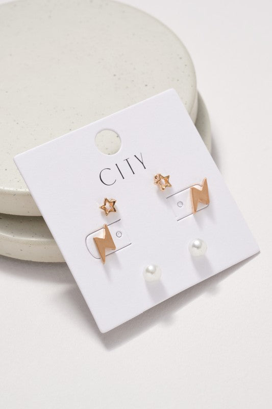 Star Thunder Bolt Pearl Stud Earrings Set