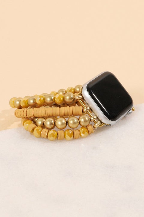 Small Rubber Beads Stone Multi Layered iWatch Band