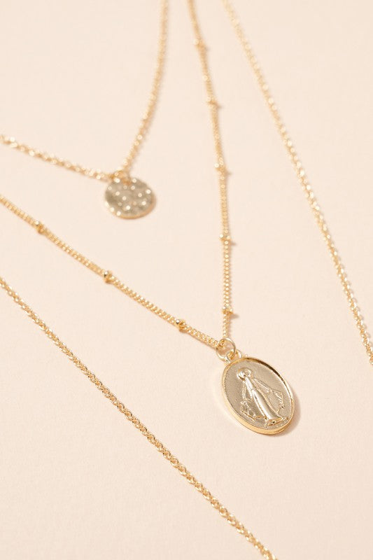 Cross Coin Charms Layered Necklace