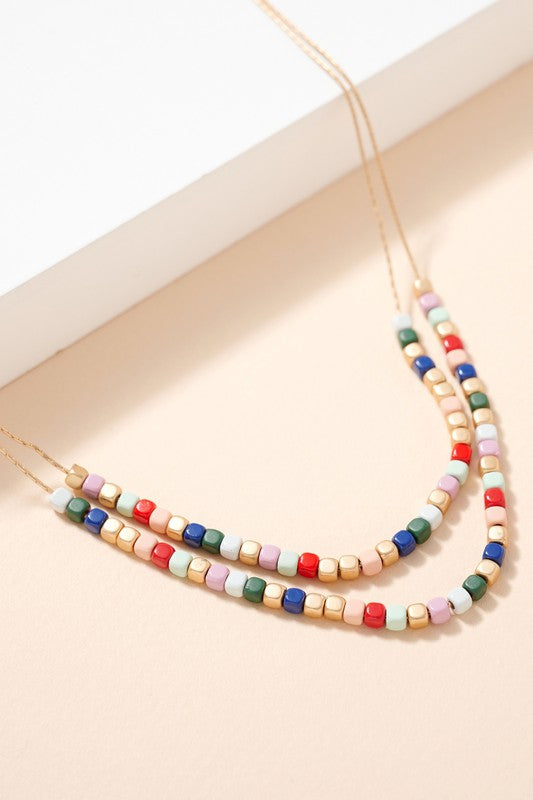 Square Seed Beaded Layered Necklace