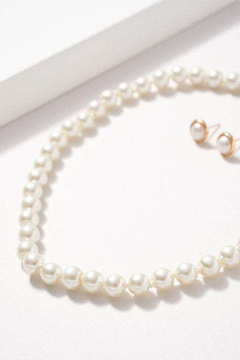 8MM Glass Pearl Beaded Short Necklace