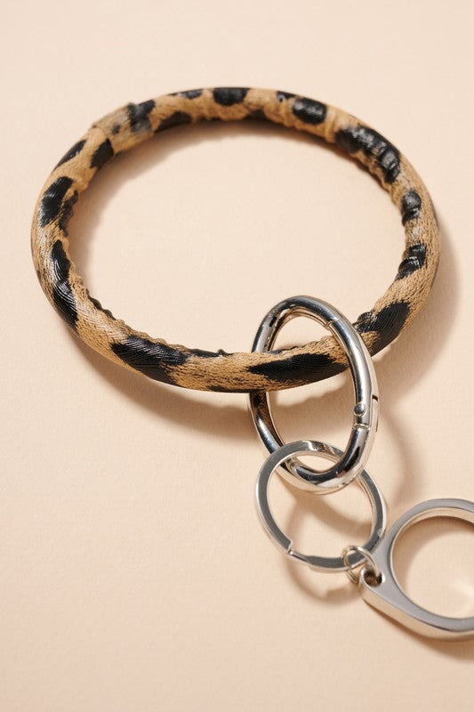 Animal Print Leather No Touch Key Ring
