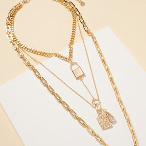 Lock Charms Multi Layered Necklace
