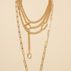 Glass Stone Charm Chain Linked Layered Necklace