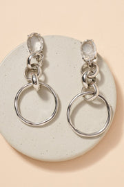 Glass Stones Chain Linked Earrings