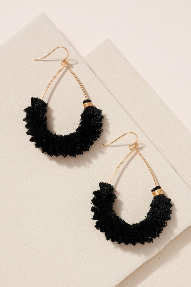 Tear Drop Wire Metal Mini Tassel Earrings