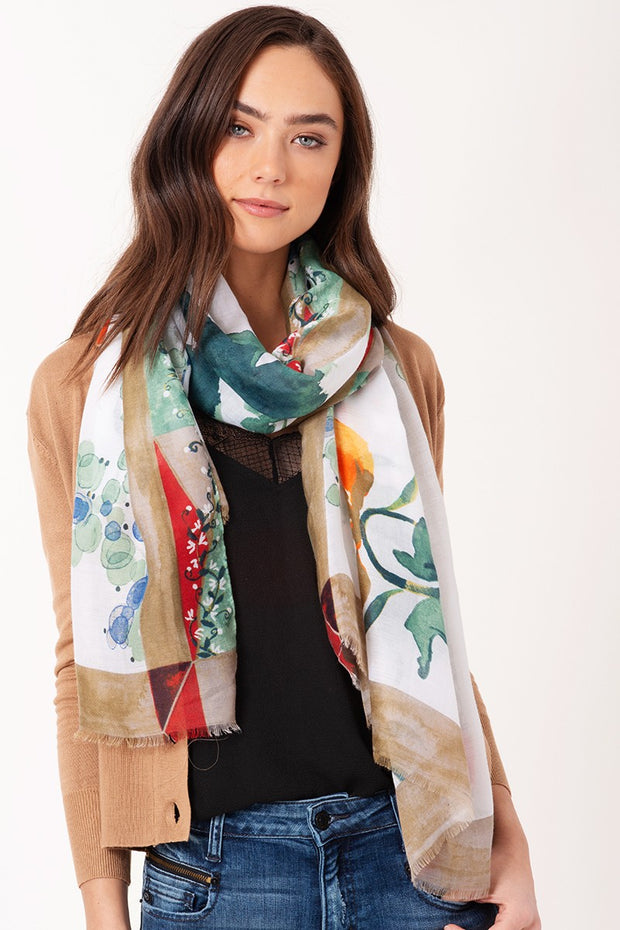 Water Paint Foral Oblong Scarf