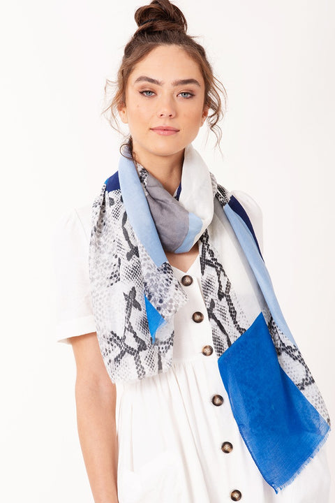 Python and Color block Print Scarf