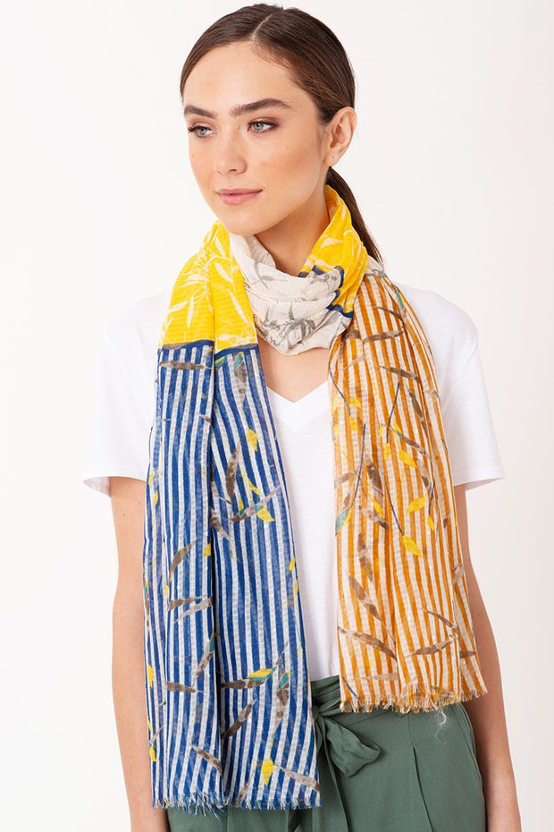 Spring Floral and Stripe Oblong Scarf