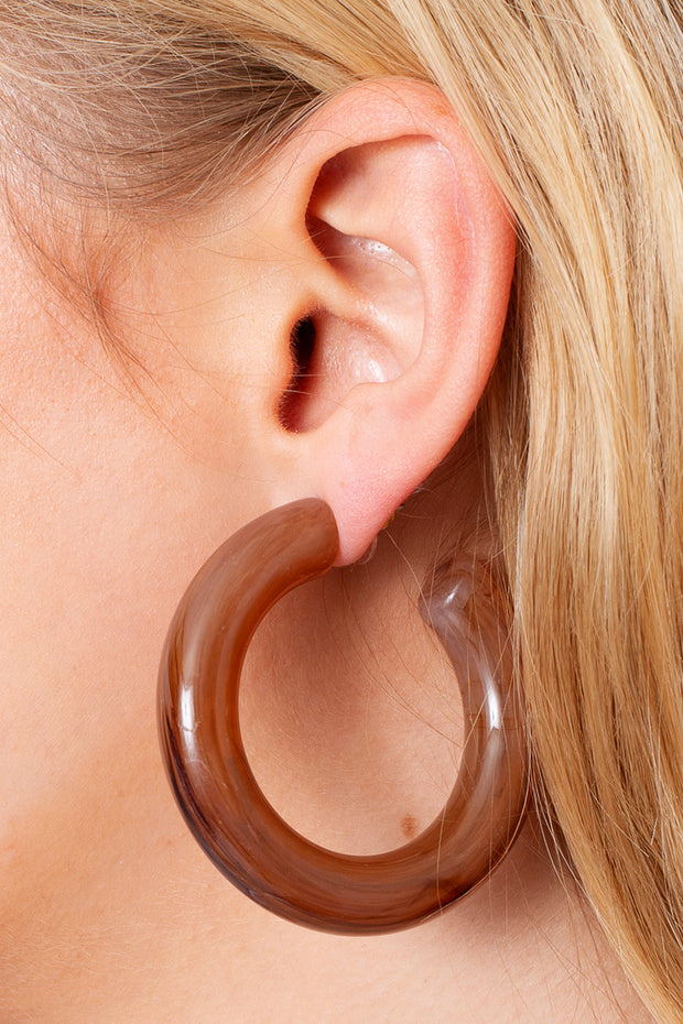 Marbled Acetate Open Hoops Earrings