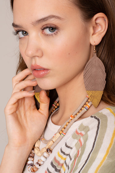 Feather Shape Glitter Leather Earrings
