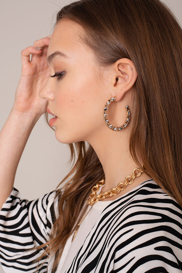 Metal Animal Print Calf Hair Hoop Earrings
