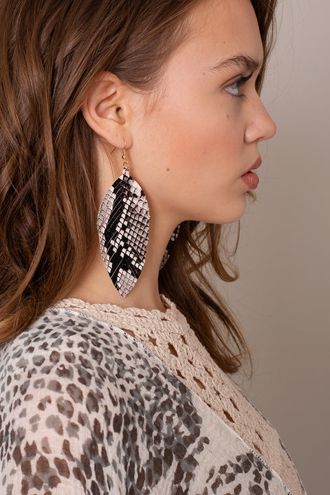 Snake Skin Feather PU Leather Earrings