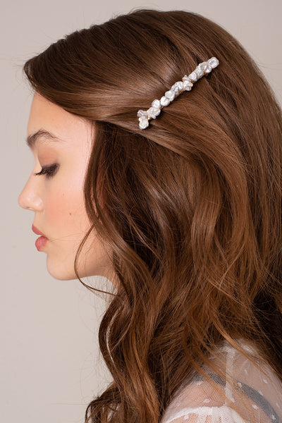 Pearls Metal Hair Barrette