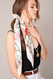 Floral Print Dual Scarf And Scrunchy