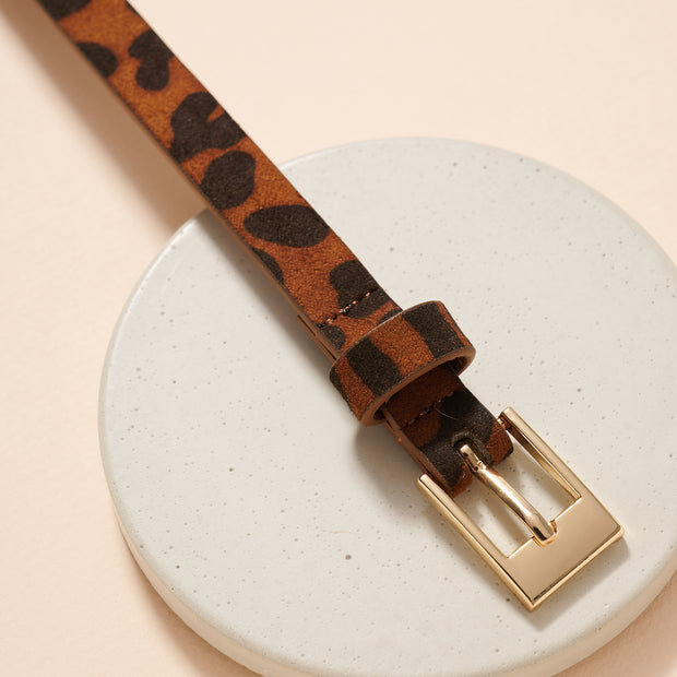 Metal Buckle Animal Faux Leather Belt