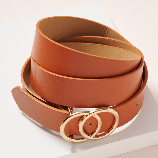 Double Metal Buckle Animal Faux Leather Belt