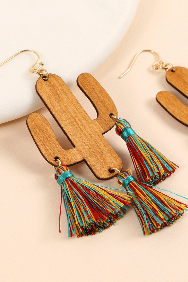 Cactus Wood Tassels Dangling Earrings