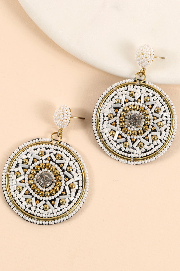 Seed Beads Crystal Stone Round Earrings
