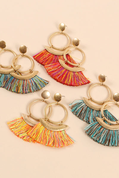Round Metal Multi Tassels Dangling Earrings