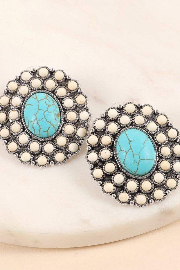 Western Natural Stones Stud Earrings