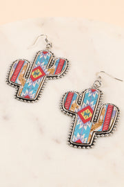 Navajo Print Cactus Cork Wood Earrings