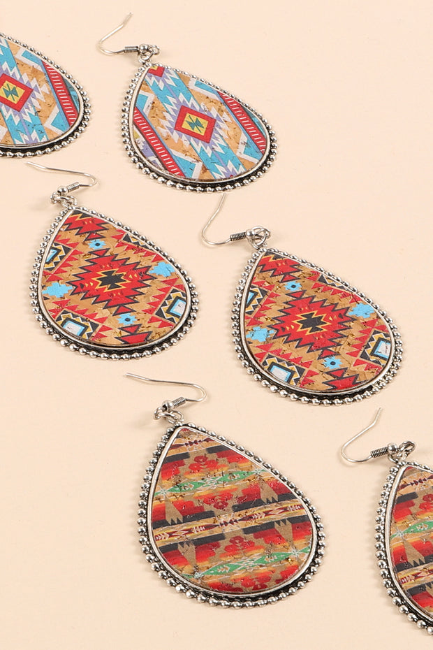 Navajo Print Tear Drop Cork Wood Earrings