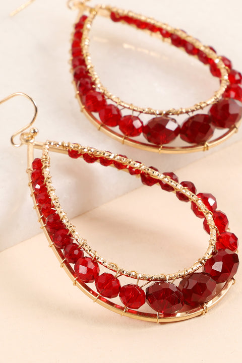 Glass Beads Tear Drop Dangling Earrings