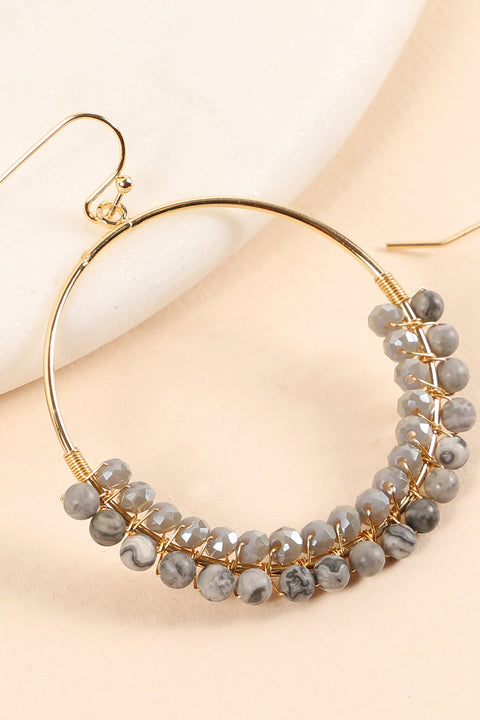 Round Metal Glass Beads Stones Earrings
