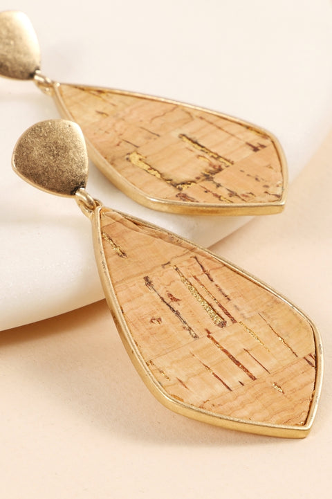 Cork Metal Stud Dangling Earrings
