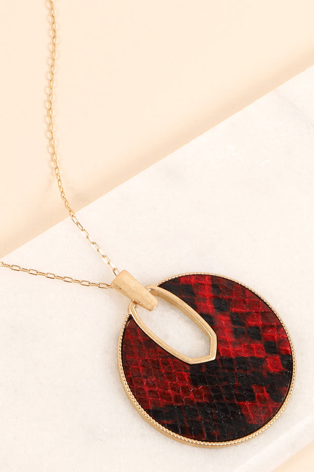 Snake Skin Leather Round Pendant Long Necklace
