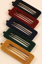 Rectangular Cut Out Velvet Hair Clips