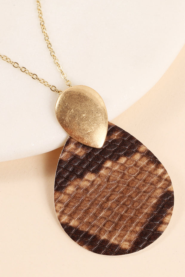 Snake Skin Leather Tear Drop Pendant Long Necklace
