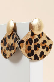 Animal Print Calf Hair Drop Earrings