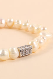 Pearl Beaded Rhinestones Charm Stretch Bracelet