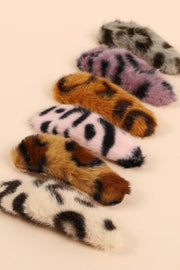 Animal Print Faux Fur Hair Pin Set