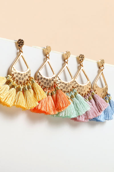 Tassels Tear Drop Metal Dangling Earrings