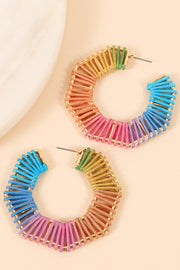 Multi Color Cord Wrapped Open Hoop Earrings
