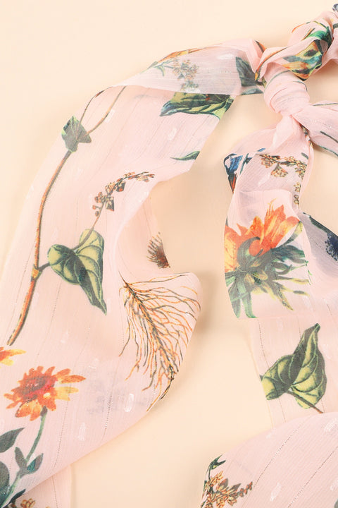 Floral Print Ponytail Scarf Scrunchy