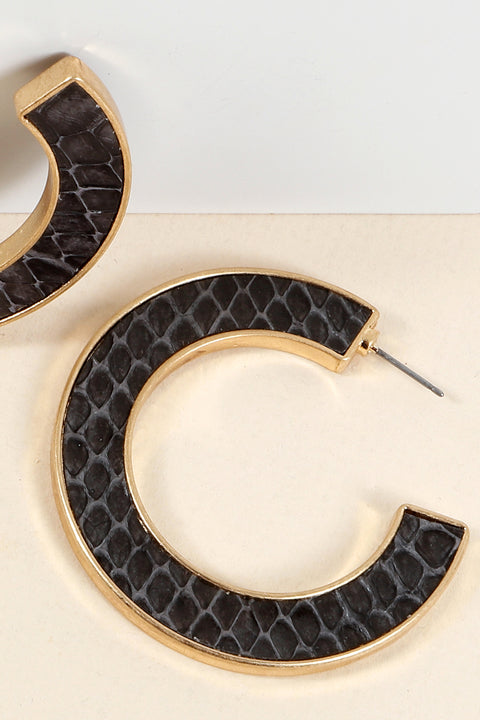Snake Skin PU Leather Open Hoop Earrings