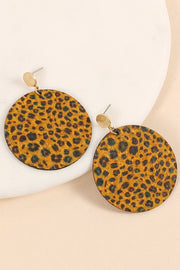 Leopard Print Cork Round Earrings